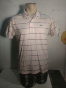 Vintage-Men-039-s-Le-Tigre-Medium-Polo-Shirt-White-w-Blue-Red-Stripe-2btn-Blue-Logo