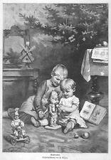 Weihnachten, Nussknacker und Kinder. Original-Holzstich von 1885