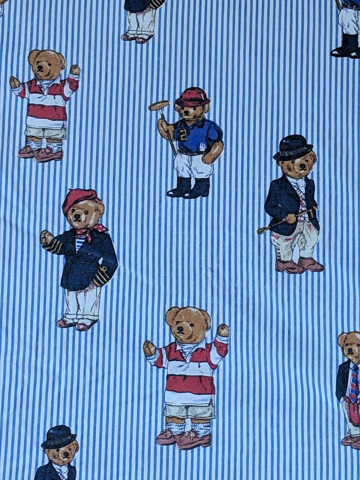 VTG 90s Polo Bear Ralph Lauren Twin Fitted Sheet Cotton Striped Made in USA