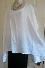 NEW Oversized Long Back Dolman Tunic Top DIANE GILMAN Plus 3X 24/26W Solid White