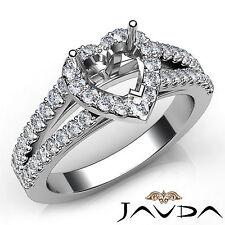 Halo Prong Set Heart Diamond Semi Mount Engagement Ring 14k White Gold 0.75Ct