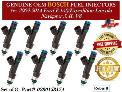 8 Fuel Injectors OEM Bosch /> 09-14 Ford F-150//Expedition Lincoln Navigator 5.4L