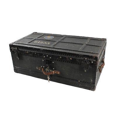 Très beau valise ancienne Outre-Mer de voyage caisse en bois M. métal coffre