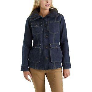 CARHARTT-Insulated-Weathered-Duck-102247-Wesley-Coat-Jacket-Medium-Denim-129