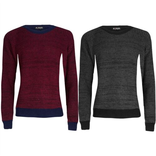 Mens Contrast Hem Chunky Cable Knitted Long Sleeve Thick Sweater Cuff Jumper Top