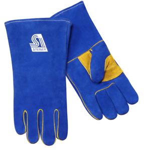 """Steiner 025NT Natural Thumb Cowhide Welding Gloves Heat Resistor Lined 14/"""" LRG"""