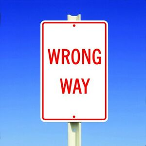 """Wrong Way Aluminum Metal 8"""" x 12"""" Street Road and Safety Sign Do Not Enter"""