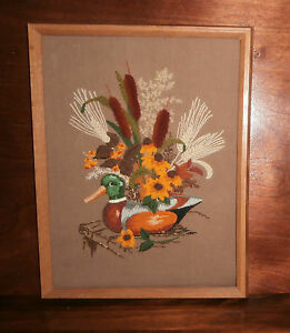 Wooden-Decoy-Crewel-Embroidery-Finished-amp-Framed-12-034-x-16-034-Creative-Circle