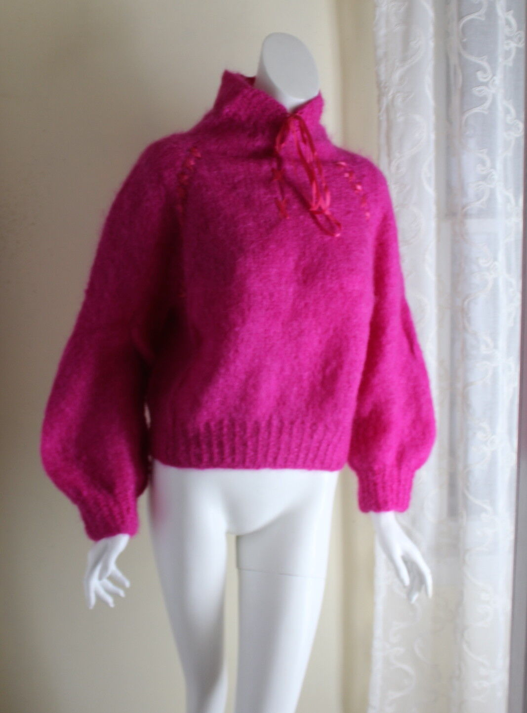 Hand-Knit Mohair Unusual Fuchsia Knit Boxy Funky Ribbon Art-to-Wear Sweater S M