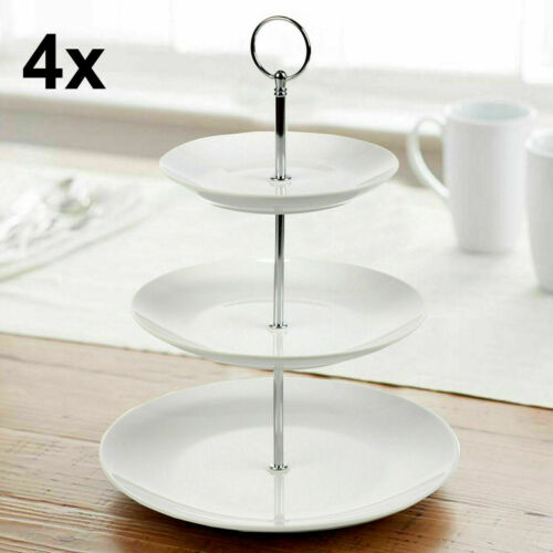 3 Tier White Ceramic Cake Stand Cupcake Stand Food Stand Platter Display Rack UK