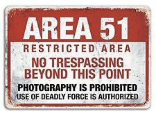 Area 51 - Metal Wall Plaque Art Sign - Bedroom Mancave Tresspassing Alien Army