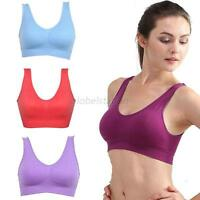 Women's Seamless Leisure Comfy Crop Top Vest Sports Yoga Bras Padded Sports Bra
