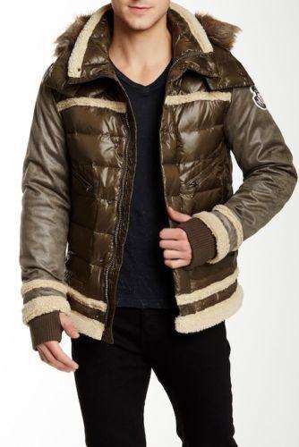 """Men`s JET LAG Down Filled Hooded Parka Size Medium 40/"""" Olive Puffer Jacket"""
