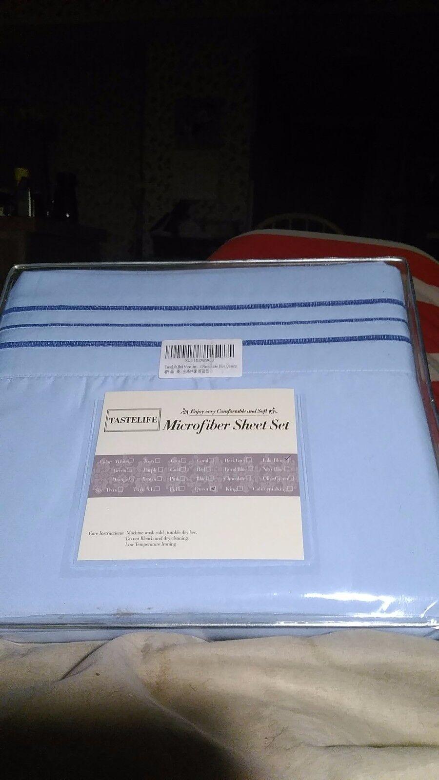 Tastelife microfiber sheet set queen size mattress bedroom light bluee