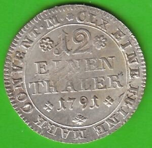 Brunswick-Wolfenbüttel 1/12 Thaler 1791 Great Condition nswleipzig