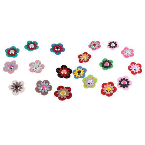 20Pcs Colorful Leather Rivet Flowers Applique Patches for Shoes Bag Decor