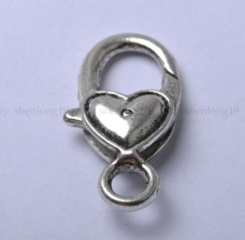 5 De Plata Tibetana pequeño corazón langosta broche 17x9mm sh348