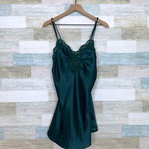 victorias secret vintage satin lingerie slip dress green
