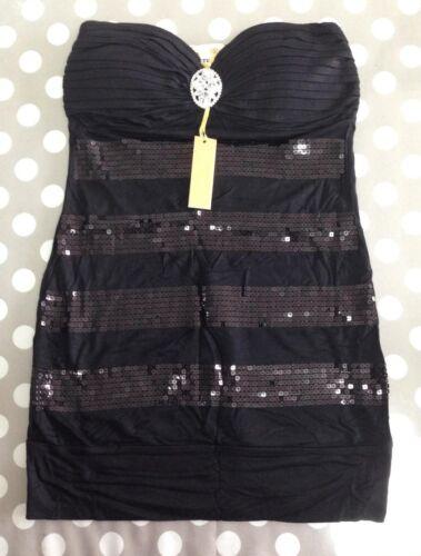 ANT Bandeau-Top mit Strass-Brosche und Pailletten Top Oberteil Shirt 34 36 38 01