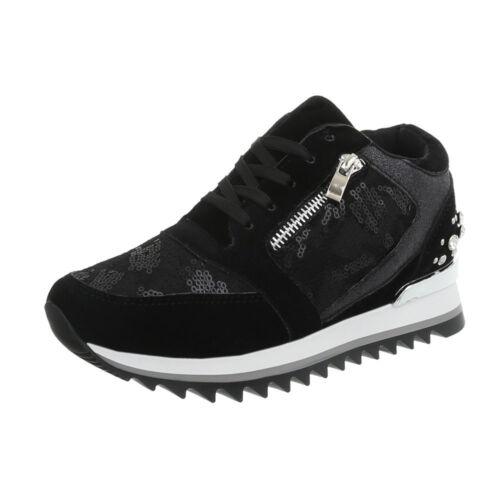 Keil Wedges Sneakers Freizeitschuhe Sneakers Low Damenschuhe 4042 Ital-design