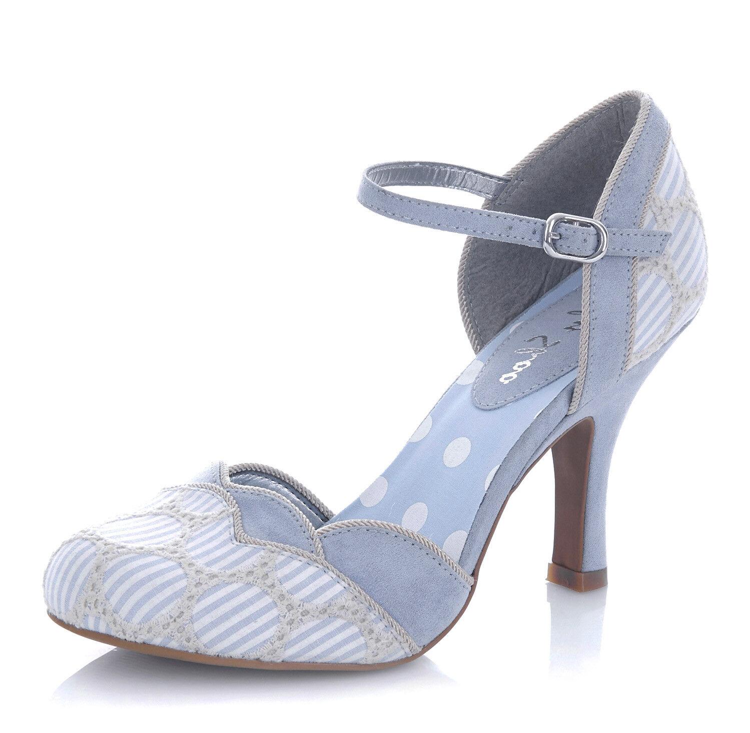 Ruby Shoo NEW Phoebe sky blue cream stripe high 3-9 heel sandals shoes size 3-9 high 062b62