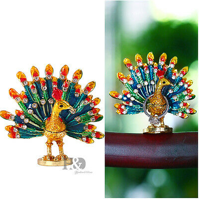 Hand Paitned Crystal Metal Peacock Style Trinket Boxes Jewelry Collectibles Gift