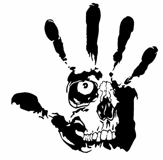 Hand Skull bonnet Detail fiesta mini sri gti tdi golf polo decal sticker vinyl