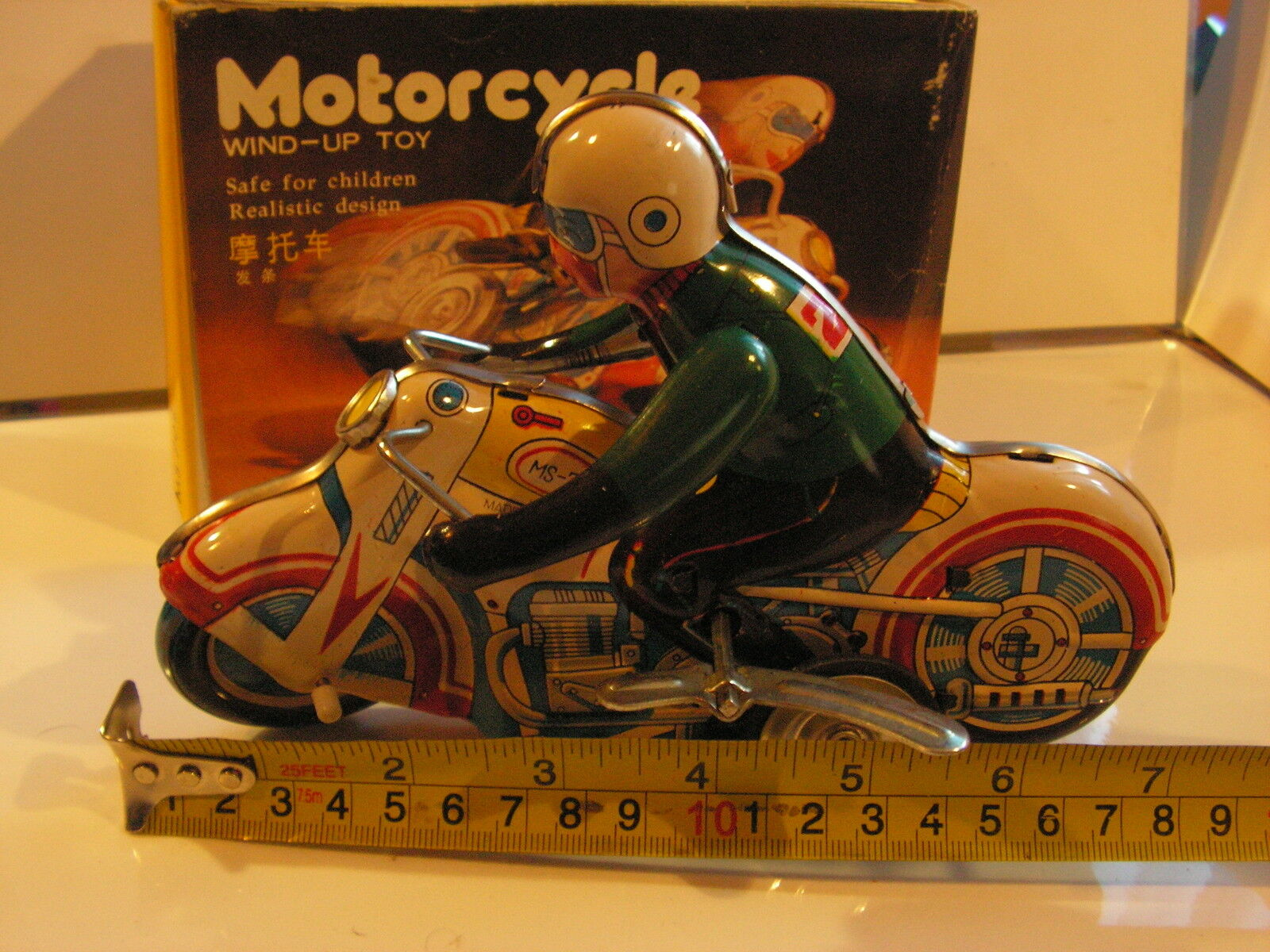 MOTO MOTORCYCLE  TIN TOY JOUET TOLE 70's  FRICTION MS 702 WIND-UP