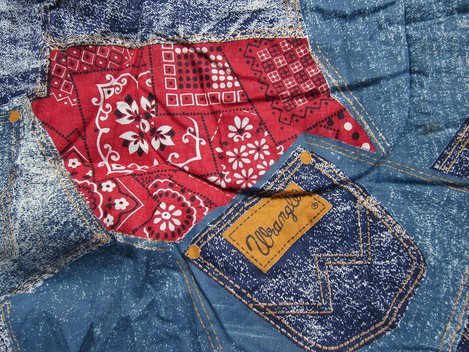 WRANGLER rodeo sleeping-bag 1970s country jeans western faux-denim