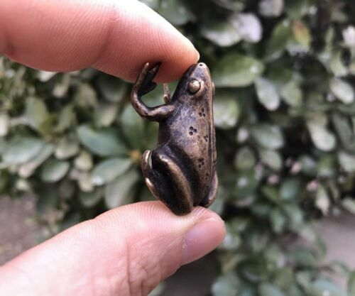 4 CM 100/% Pure Bronze China Fengshui Animal Common Pond Frog Sculpture Statuette