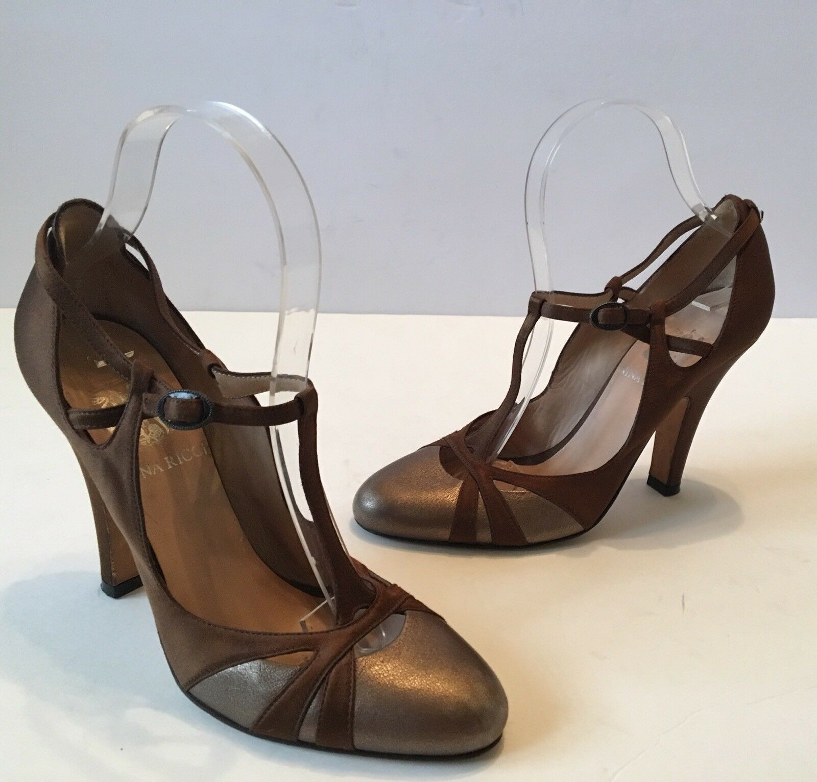 NINA RICCI BROWN SATIN BRONZE GOLD LEATHER T- STRAP HEELS PUMPS 36