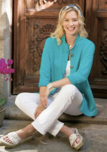 Soft Surroundings Style 2AJ94 Teal Long Sleeve Wear Anywhere Top Women's S