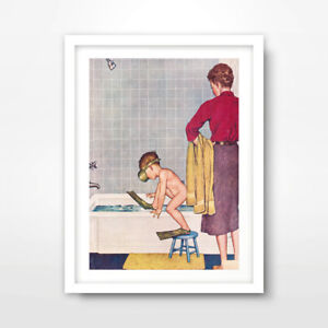 BATHROOM ART PRINT POSTER Room Home Decor Child's Bath time Illustration Picture