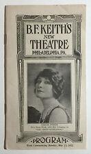 "B.F. Keith's New Theatre Vintage Program, ""The Choir Rehearsal"", Phila. PA, 1922"
