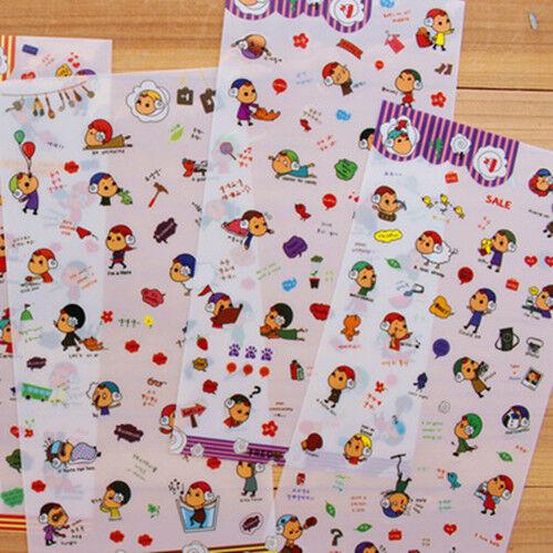 6sheet sheep horn hat girl's diary calendar books decoration transparent sticker