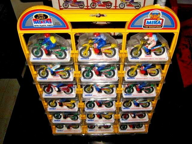 Unique MIRA Espagne DIE CAST MOTOS & Store Display complet stand 80 S Comme neuf IN BOX