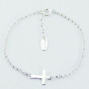 Genuine-925-Sterling-Silver-Sideways-Cross-Bracelet-Silver-Rolo-Chain-Adjustable