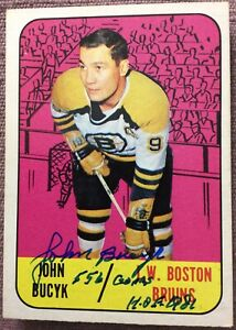 SIGNED-1967-68-Topps-42-JOHN-BUCYK-w-2-INSCRIPTIONS-EX-NO-CREASES