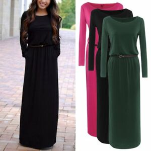0ae08899bbe9d Womens Casual Long Sleeve Baggy Maxi Dress Belted Winter Evening ...
