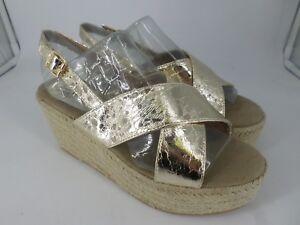 Amor Amore Espradrille Wedge Heel Sandals Gold UK 6 EU 39 LN22 93