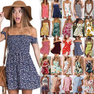 Summer-Women-Holiday-Short-Mini-Dress-Floral-Print-Ruffle-Party-Beach-Sundress