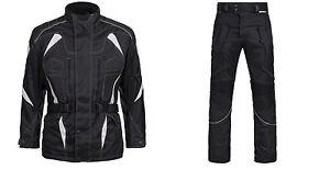 Moto-Combi-2-pieces-veste-avec-pantalon-Cordura-textile-Combi-M-a-4xl-Noir-Blanc-3