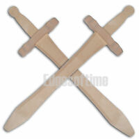 2 X NATURAL WOODEN FANTASTY ROLE PLAY CHILDREN'S TOY SWORDS 48CM