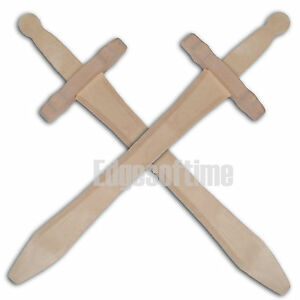 2-X-NATURAL-WOODEN-FANTASTY-ROLE-PLAY-CHILDRENS-TOY-SWORDS-48CM