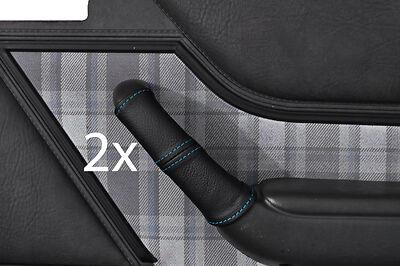 Blue stitch FITS FORD Capri Mk3 2x poignée de porte avant en cuir couvre