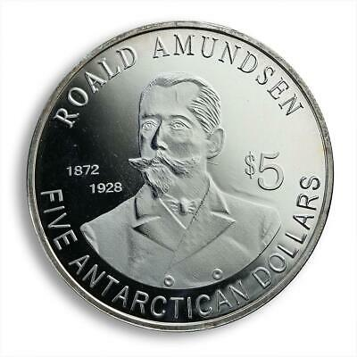 SOUTH POLE CENTENARY ROALD AMUNDSEN Antarctica $5 Commemorative Coin 2011 UNC