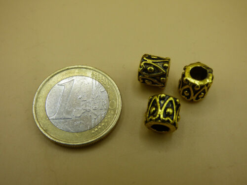 3x Tibet Spacer Schmuck Bastel Messing Antik Golden Perlen Zwischen