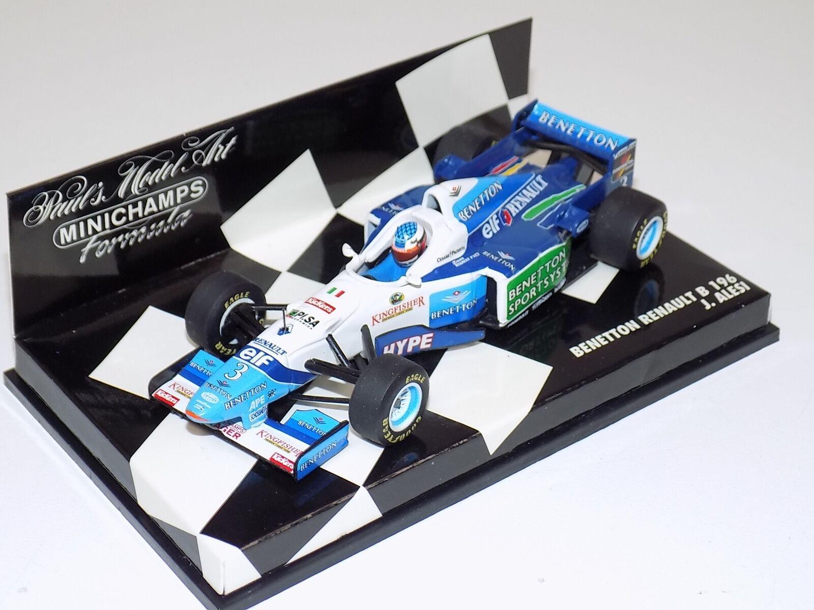entrega gratis 1 43 Minichamps F1 fórmula 1 Renault Renault Renault B196 Benetton J. Alesi 1996