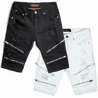 Copper Rivet Slim Fit Twill Biker Shorts With Zippers And Rips Black Or White