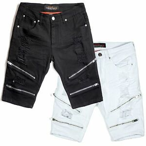 Copper-Rivet-Slim-Fit-Twill-Biker-Shorts-With-Zippers-and-Rips-Black-or-White